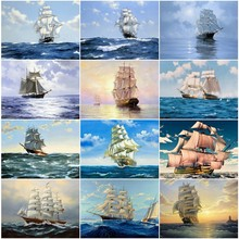 EverShine Diamond Painting Ship Full Square Embroidery Landscape Picture Of Rhinestone Cross Stitch Home Decoration