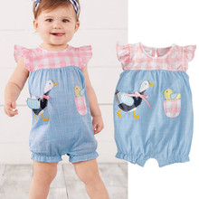Cartoon Cute Baby Rompers Sleeveless Plaid Patchwork Denim Baby Girl Clothes Jumpsuit Outfits Summer New Born Baby Clothes(China)