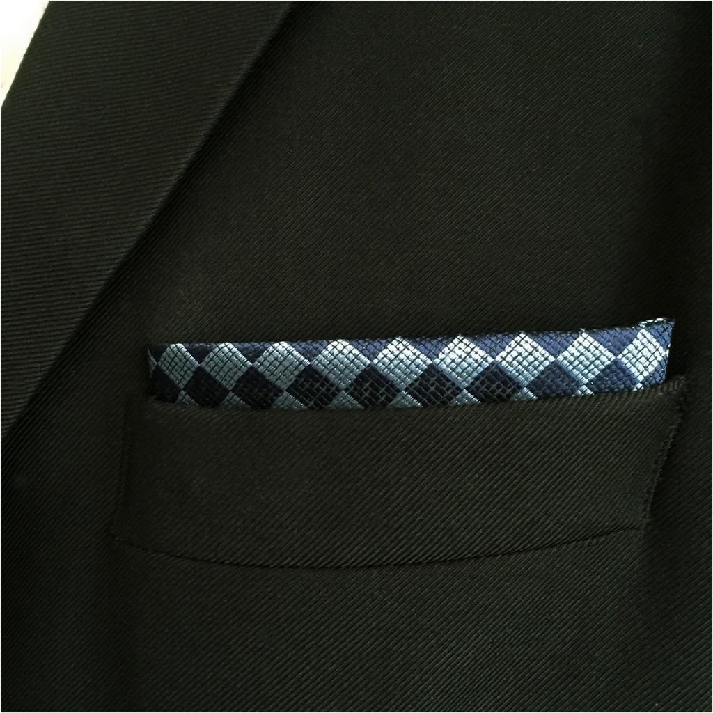 CH22 Navy Light Blue Checkes Mens Pocket Square Wedding Fashion Hanky Dress Accessory Silk