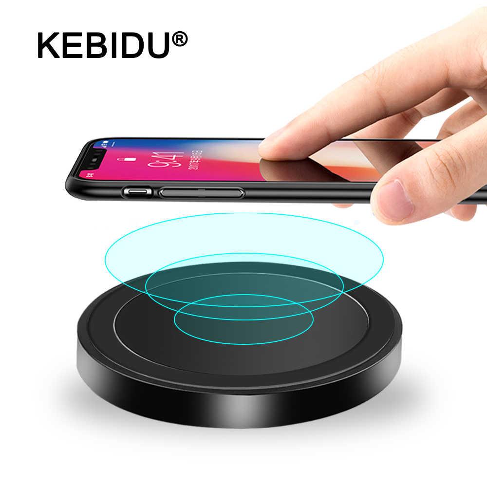 KEBIDU 5W cargador Universal inalámbrico para Samsung S8 S9 rápido de carga para IPhone Xs Max XR 8X8 Plus cargador inalámbrico QI