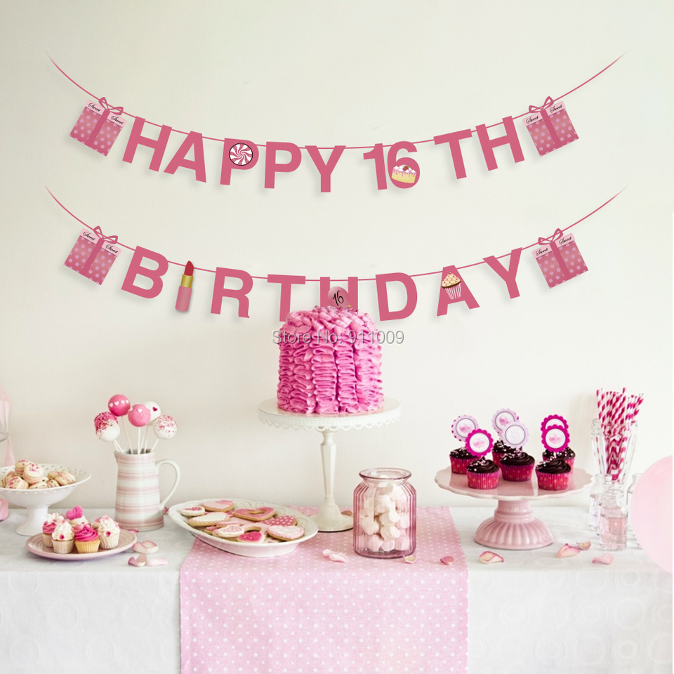 Sweet 16 Happy Birthday Banners Lipstick Ice Cream Paper Cards Birthday Party Decorations Pink Backdrops Party Supplies Banners Streamers Confetti Aliexpress