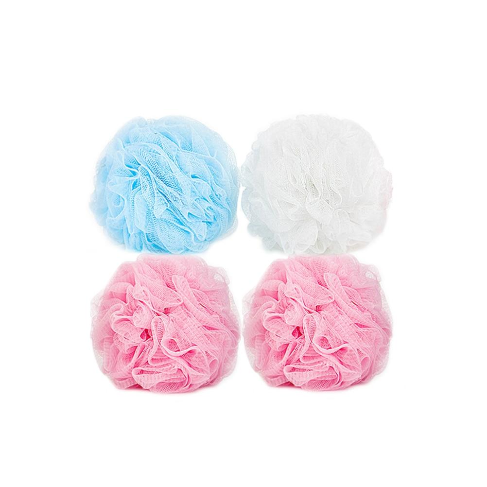 Random Color FRCOLOR 2pcs Bath Puff Loofah and Mesh Shower Sponge Exfoliating Body Brush Pouf Scrubber