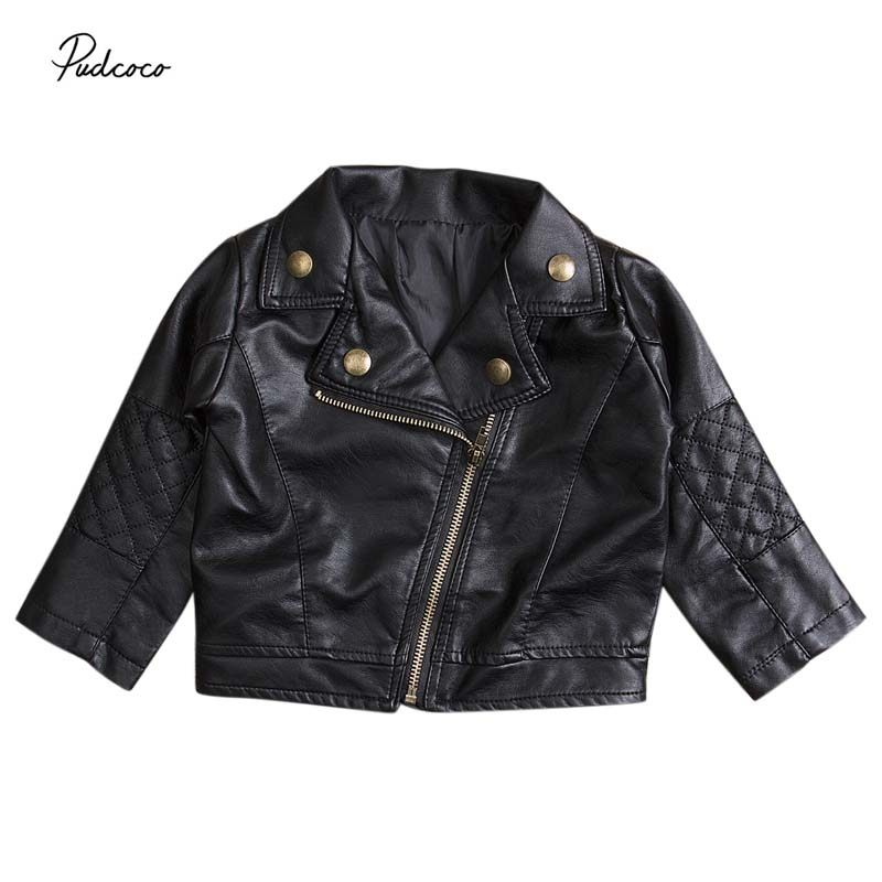 53f36b7ea Online Shop 2017 Autumn Winter PU Leather Jacket New Kids Girls ...
