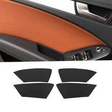 купить For Audi A4 2009 2010 2011 2012 2013 2014 2015 2016 4pcs Microfiber Leather Interior Door Panel Cover Sticker Trim дешево