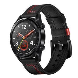 Image 4 - 22MM Smart Sports Watch Strap Top Layer Fashion Replacement Leather Watch Strap 7 Shape Wristband Watch Magic Band 2019 New