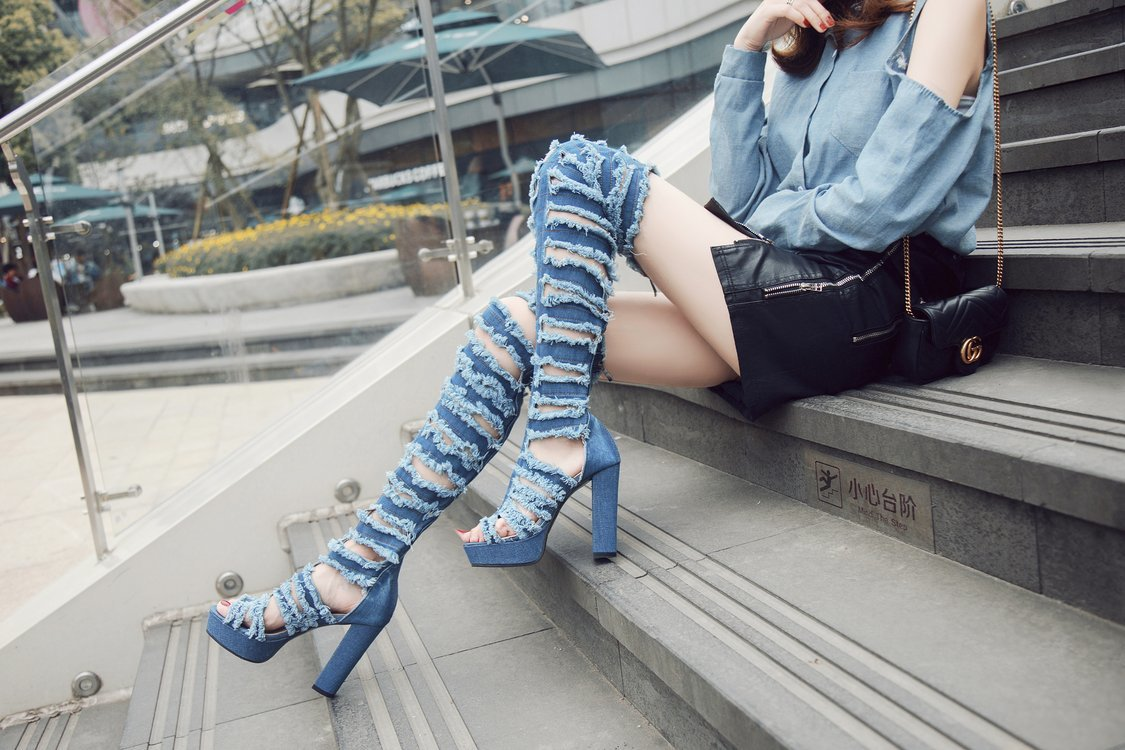Women Long Boots Sexy Over The Knee Boots Super High Heel Denim Rainboots Shoes Woman Lace Up Peep Toe Shoes Sapatos Feminino in Knee High Boots from Shoes