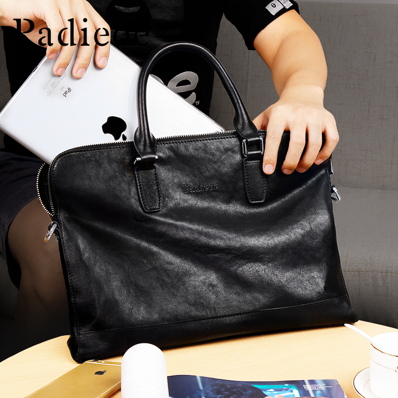 Padieoe Men's Briefcase Genuine-Leather Portfolio Business-Bags For Male