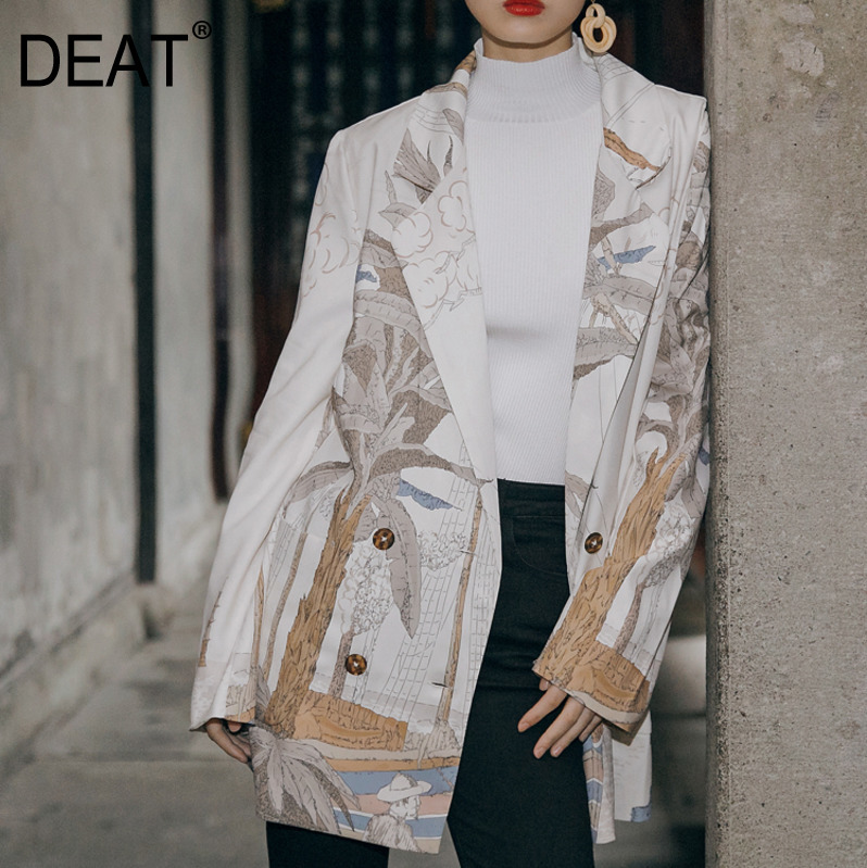 DEAT 2019 New Turn down Collar Summer Fashion Women Clothes Full Sleeves Printed Jacket Single Breasted
