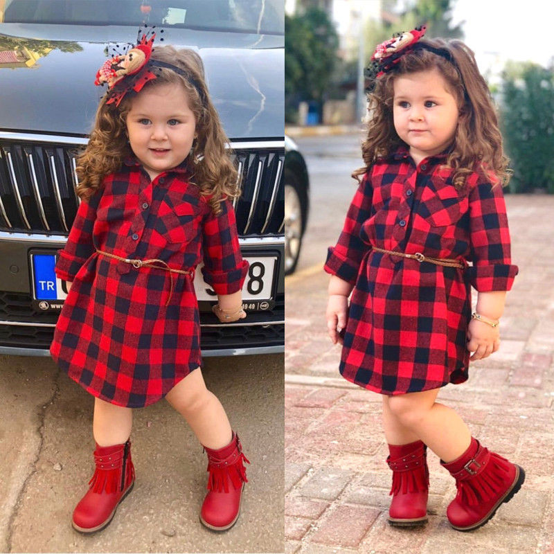 0-5T Newborn Infant Kid Baby <font><b>Girl</b></font> Clothing checkerboard gingham cotton <font><b>t</b></font> <font><b>shirt</b></font> <font><b>Dress</b></font> Elegant plaid fashion cute <font><b>Dress</b></font> streetwear image