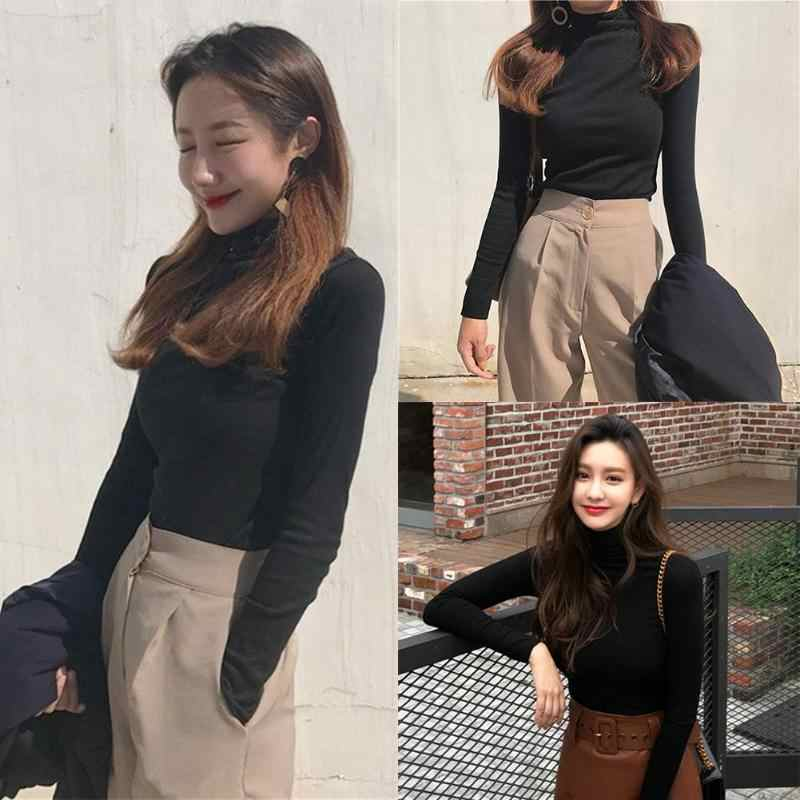 19cdf0c50b5e38 ... Korean Style Autumn Long Sleeve Slim Fit T-shirt Women Solid Color High  Neck Bottoming ...