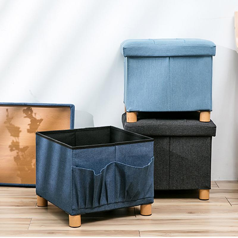 38x38x38CM Denim Fabric Solid Wood Storage Modern Folding Rect Stool Box Footrest Living Room Furniture Pouffe Ottoman Bench