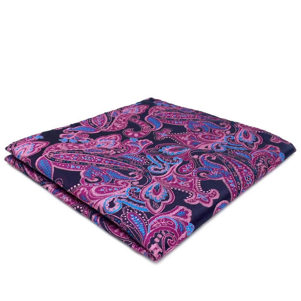 QH15 Paisley Purple Mens Pocket Square Silk Jacquard Woven Handkerchief Brand New Fashion