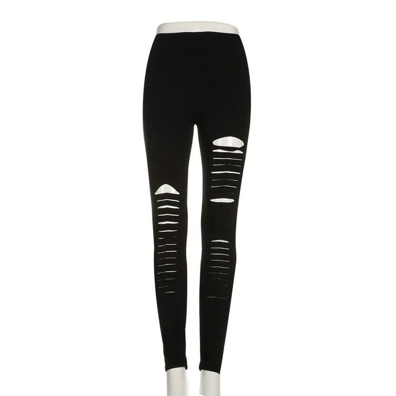 Arrival Women Pants Elastic Polyester Hollow Out Ripped Gothic Push Up Strap Bandage Slim Black Sexy Pants