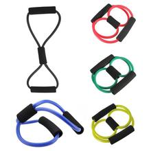 Resistance 8 Type Muscle Chest Expander Rope Workout Fitness Exercise Yoga Tube Sports Pulling Exerciser Random Color Yoga Tube