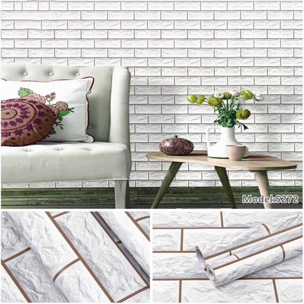 Adeeing 10M 3D Faux Brick Stone Self adhesive Wall Sticker for Bedroom Background Decor