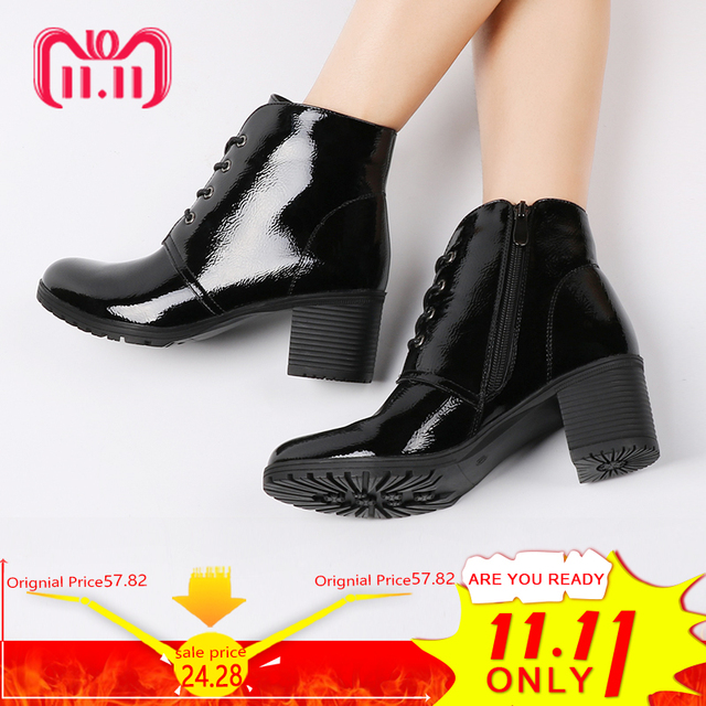 AIMEIGAO High Heels Ankle Boots Short Plush Inside Patent Leather Black Platform Heels Shoes Square Thick Heel Women Boots
