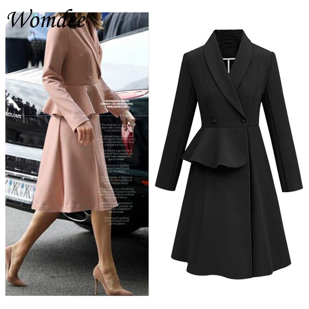 2018 Autumn Winter Elegant Coat Women Long   Trench   Coat Windbreaker Europe America Fashion Trend Plus Size Overcoat Coat Dress