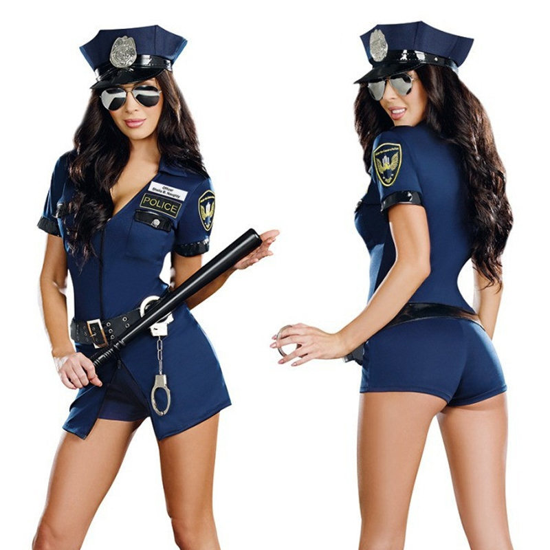 Women Sexy Police Costume Officer Cosplay Uniform Outfit For Adults Halloween Costume Ball
