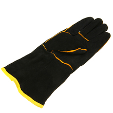 1 Pair Welding Heat Resistant Gloves Safety Gauntlets Protection Heavy Duty Black Mig Leather Cowhide Welders Working Gloves