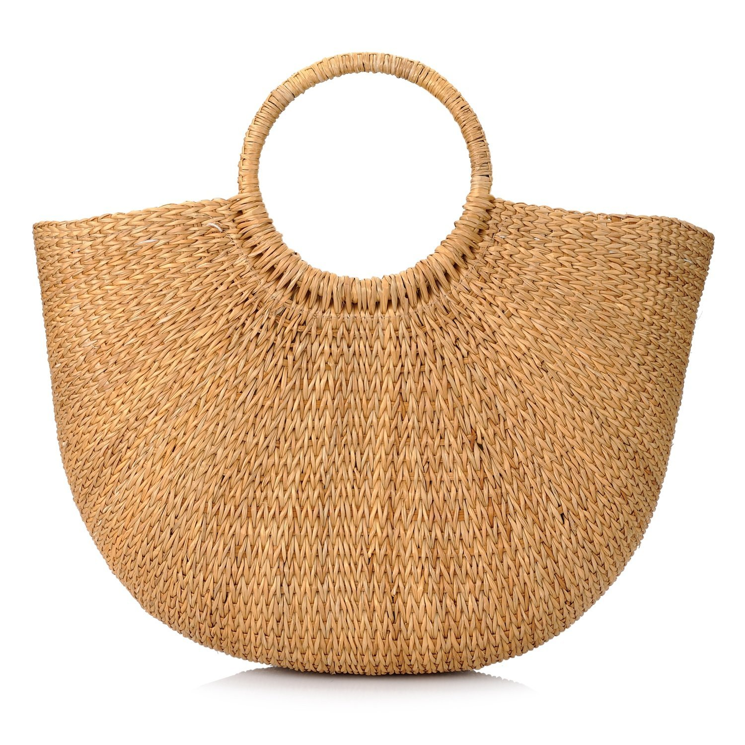 Natural Chic Hand-woven Round Handle Ring Straw Tote Retro Large Casual Summer Women Beach Handbags