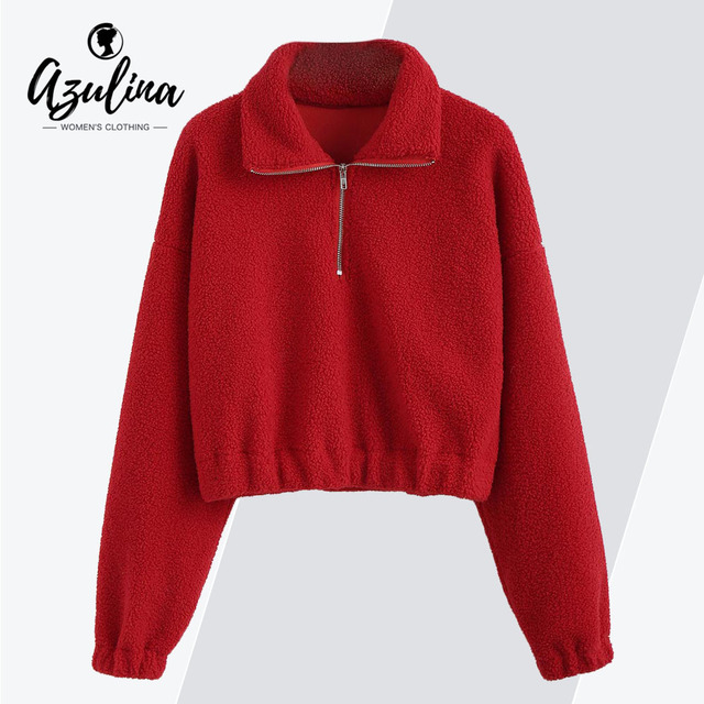 AZULINA Mock Neck Plain Faux Fur Sweatshirt Half Zipper Sweatshirts Sherpa Hoodies  Women Clothing Solid Color Ladies Tops 2018 d6e15bdf1