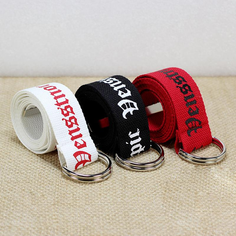 Punk Canvas Jeans Belt For Men Women Fashion Casual Waist Belts Metal Buckle Harajuku Solid Color Letter Print Female Long Belts