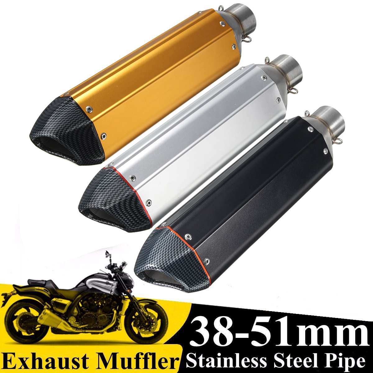 38-51mm Yellow/Silver/Black Hexagonal Motorcycle Scooter Street Bike Carbon fiber Exhaust Muffler Pipe With Silencer Universal38-51mm Yellow/Silver/Black Hexagonal Motorcycle Scooter Street Bike Carbon fiber Exhaust Muffler Pipe With Silencer Universal