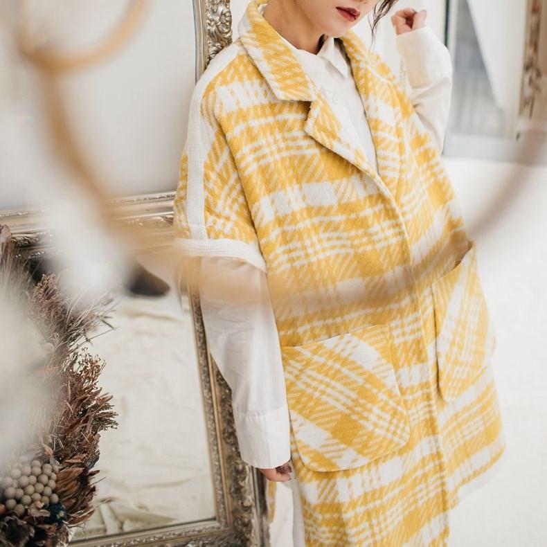 Suelto Otoño Lateral De Larga Amarillo Cuadros Abrigos Las Abrigo Manga Botón Mujeres Murciélago Moda Prendas 2018 Exteriores Media Vestir Nueva Lana aPqWBZ