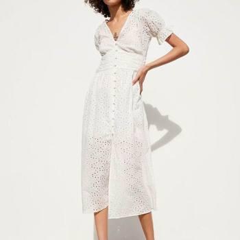 d02f37e655ebcb7 Женское белое платье из хлопка с вышивкой, лето 2019, новинка, модные  тонкие женские платья-футляр до середины икры, Feminino Vestidos