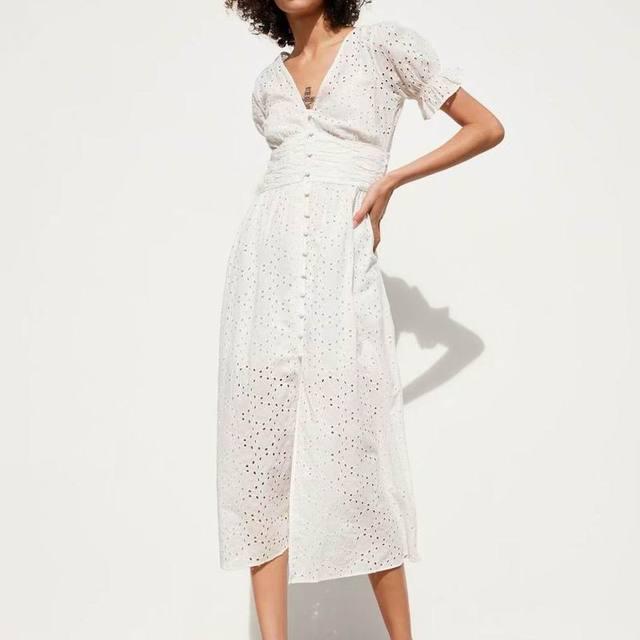 Women White Dress Cotton Hollow Out Embroidery 2019 Summer New Fashion Slim Lady's Mid-Calf Sheath Dresses Feminino Vestidos