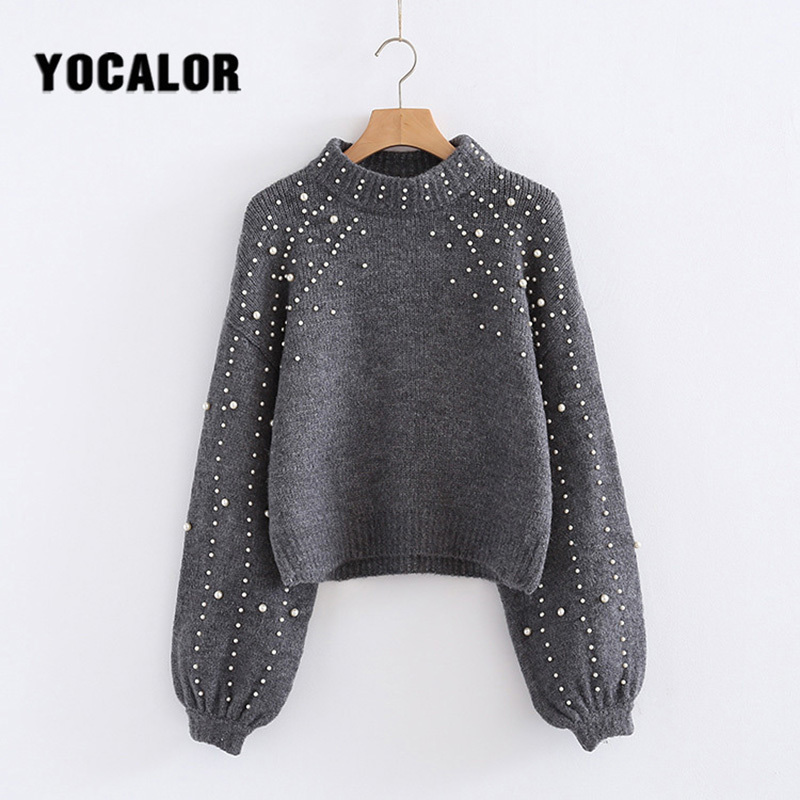YOCALOR Lantern Sleeve Best Pearl Pull Hippie Femme Sweater Women Jersey Winter Knitted Female Casual Jumper Knitting Autumn