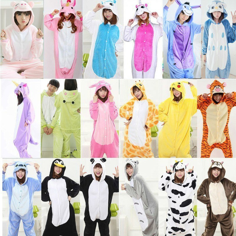 2019 Winter Warm Women Unicornio Animal Pajamas Kugurumi One-piece Cartoon Kigurumi Long Sleeve Hood Sleepwear Onesie For Adult
