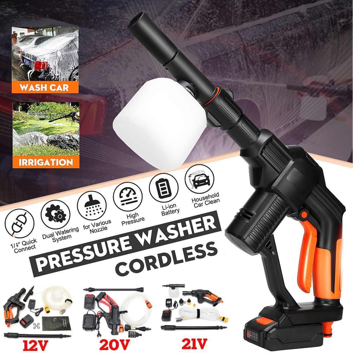 22BAR 320PSI 4000mAh Lithium Electric High Pressure Washing Machine Rechargeable Car Washer 12V/20V/21V Cordless Cleaning Tool