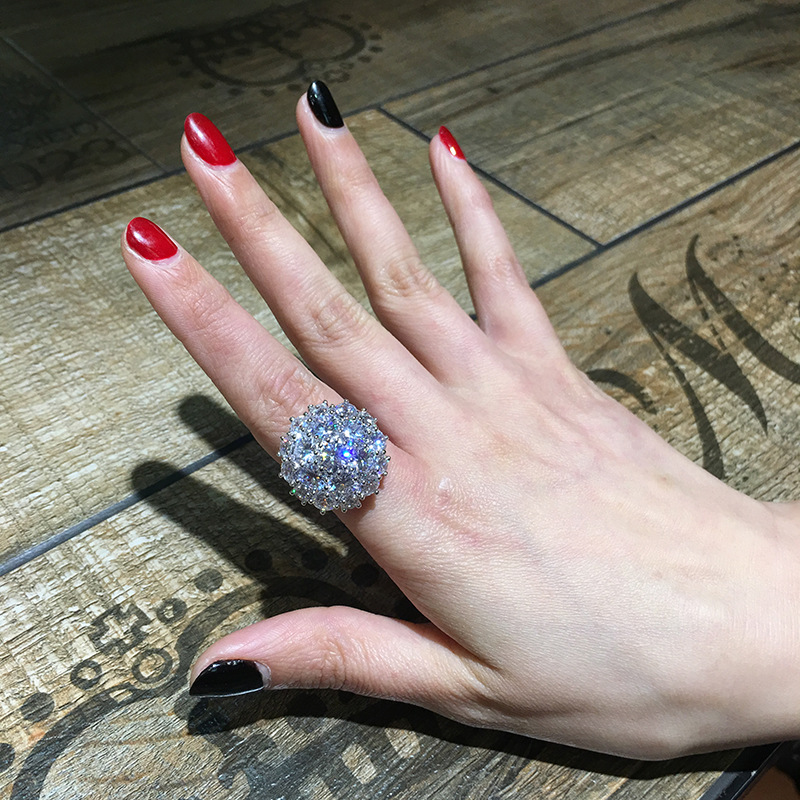 Luxury Big Full Zircon Stone Ring Female 925 Silver Engagement Ring Vintage Party Wedding Band Crystal Flower Rings For Women