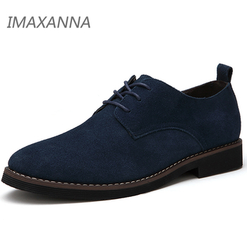 IMAXANNA Men Casual Shoes Men Genuine Leather Shoes Spring Men Flats Lace Up Male Suede oxfords Shoes Big size 48 Dropshipping 1