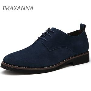 Image 2 - IMAXANNA chaussures en cuir véritable pour homme, souliers oxfords en daim, grande taille 48 chaussures décontractées, printemps, chaussures plates pour homme, à lacets
