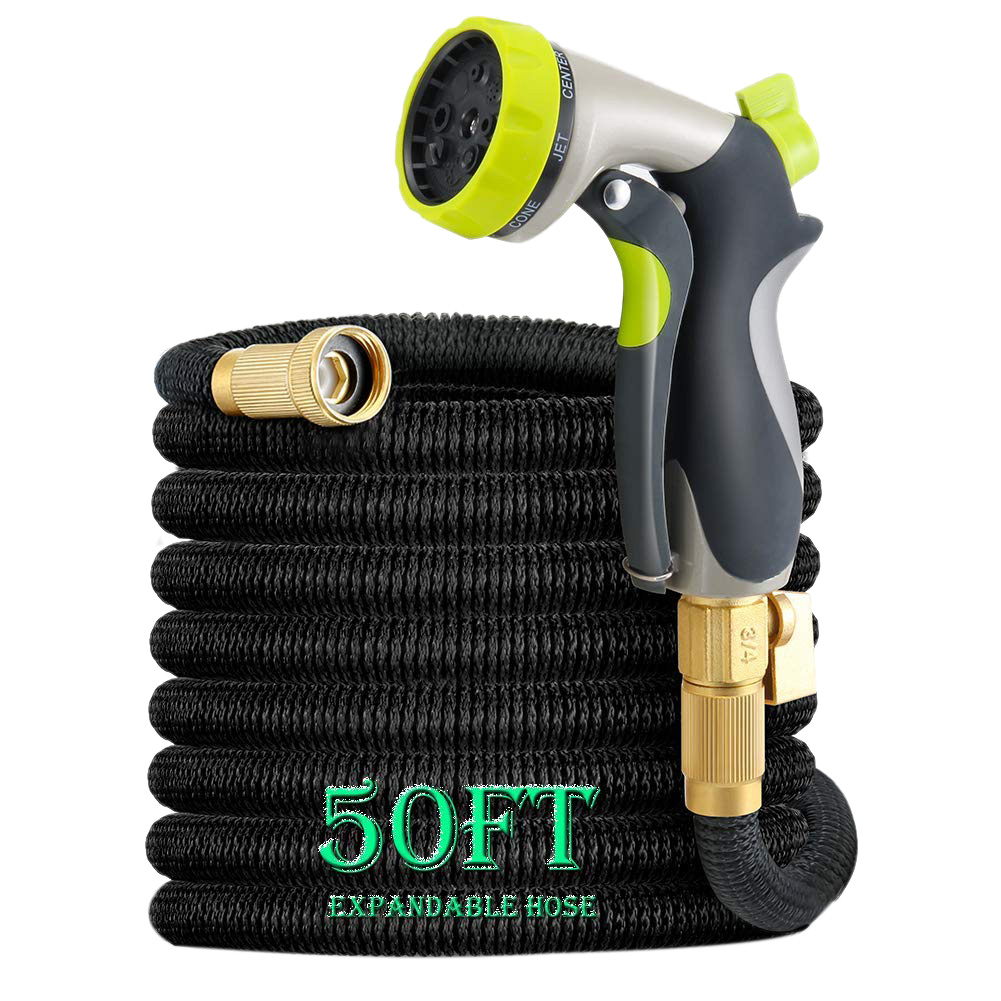50Ft Garden Hose  All New Expandable Water Hose Set With Double Latex Core 3/4 Solid Fittings  Extra Strength Fabric  Flexible|Garden Hoses & Reels| |  - title=