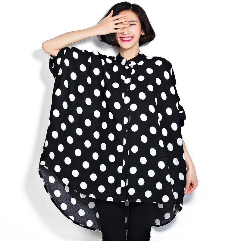 [EWQ] 2019 Spring Summer Short Sleeve Lapel Dot Print Patchwork Singel Breasted High Street Loose Shirt Women Fashon Tide AD128