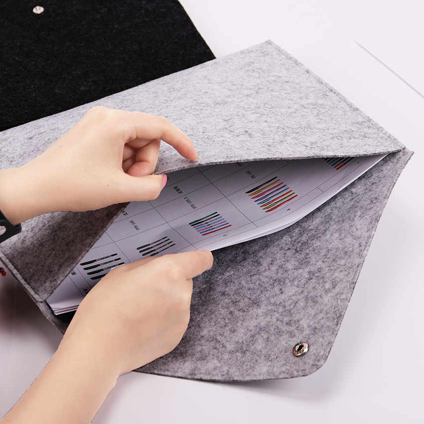 1pc Simple Solid A4 Big Capacity Document Bag Business Briefcase File Folders Chemical Felt Filing Products Gifts