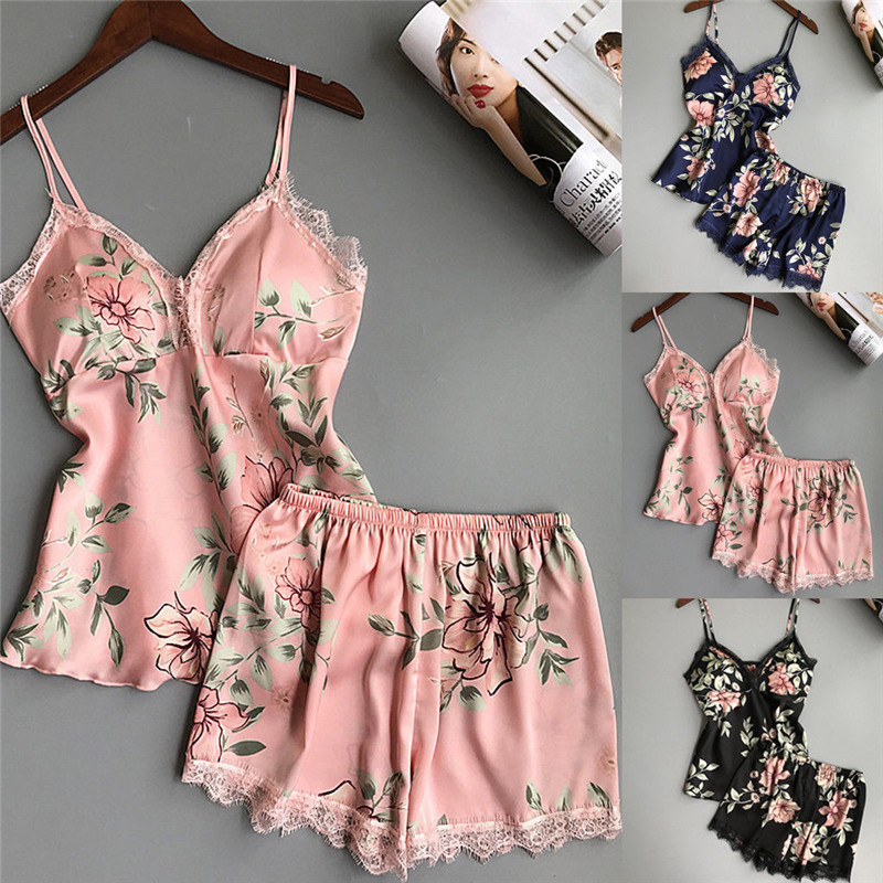 Womens Sexy Lingerie Sleepwear Satin Silk Babydoll Lace Floral Nightwear Pajamas Set V Neck Tops + Shorts
