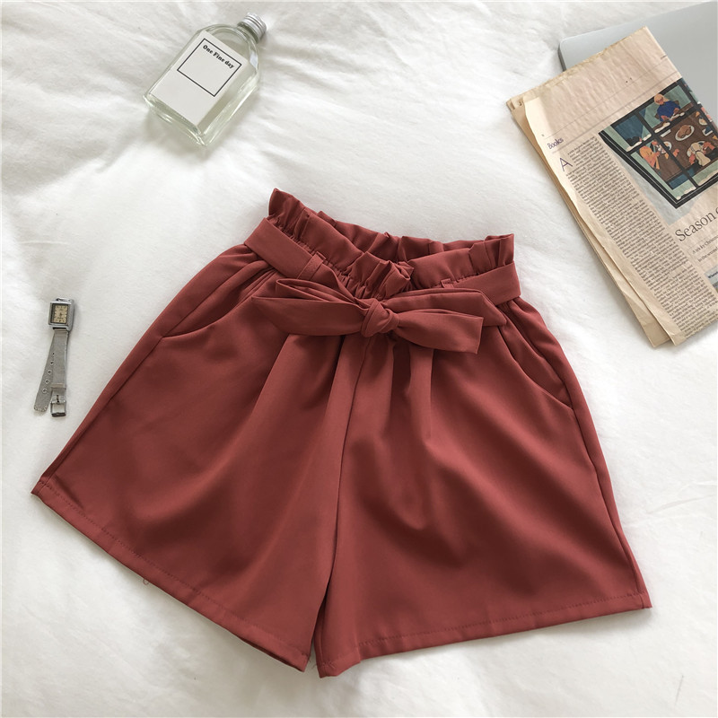 2019 Summer Hot   Shorts   Bow Belt High Waist Wide Leg   Shorts   Woman Korean Fashion Solid Color Bottoms