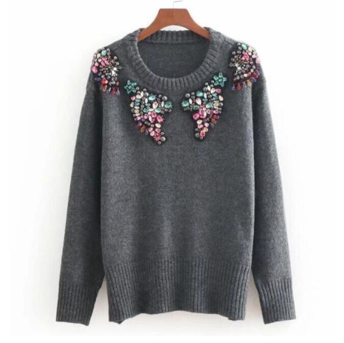 Autumn And Winter Round Neck Luxury Diamond Beaded Knitting Sweater Women Knit Pullovers