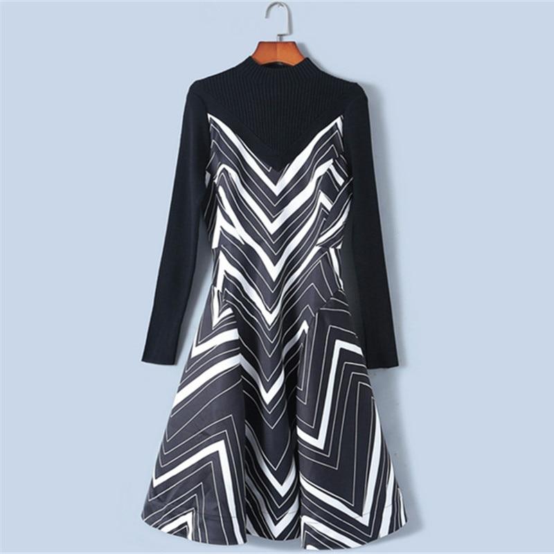 Rayas Primavera De Nuevo Black Elegante 2019 Vestido Traje Calidad Mujeres Vestidos Vintage Alta Diseño Las Punto Suéteres Cremalleras wRAUqzIHx