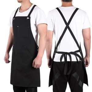 Image 1 - Promotion! Black Canvas Work Apron with Tool Pockets Cross Back Straps & Adjustable Apron Heavy Duty Apron With Pockets