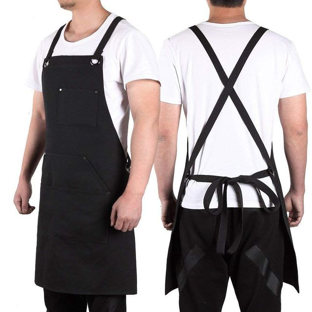 Promotion! Black Canvas Work Apron with Tool Pockets Cross Back Straps & Adjustable Apron Heavy Duty Apron With Pockets