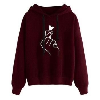 한국어 패션 여성 까마귀 스웨터 하트 손가락 패턴 긴 소매 캐주얼 루즈 풀오버 kawaii 후드 탑스 kpop 의류