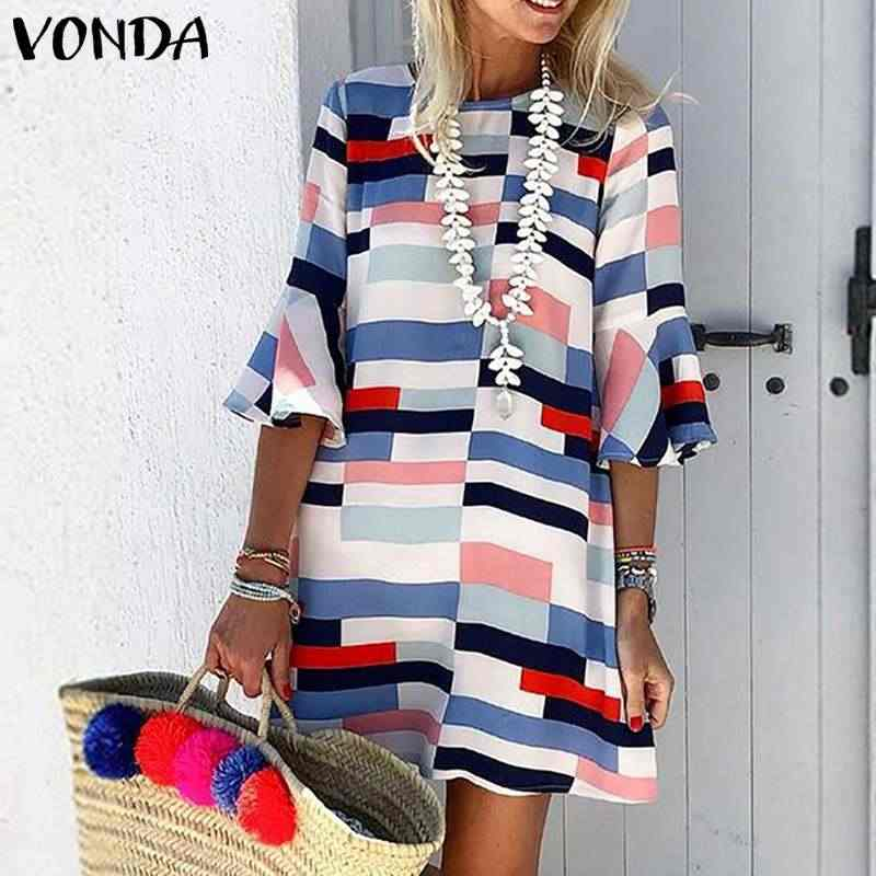 Plus Size 2020 Vonda Zomer Jurk Vrouwen Plaid Mini Jurk Beach Party Half Flare Mouwen S-5XL Sexy Streetwear Casual Vestido