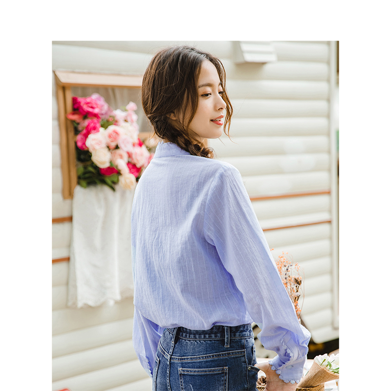 Image 2 - INMAN Spring Autumn Cotton Turn Down Collar Literary Retro Casual All Matched Loose Long Sleeves Women ShirtBlouses & Shirts   -