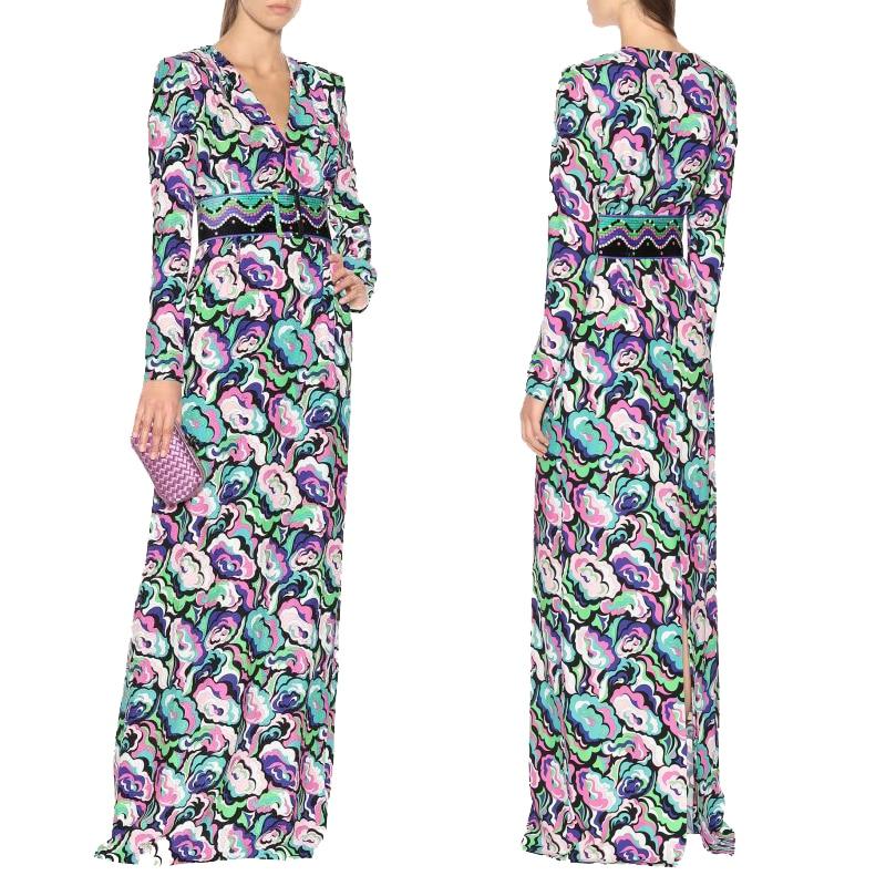 New Women s V Collar Long Sleeved Peony Printing Fashion Sexy Club Stretch Knitted Slim long