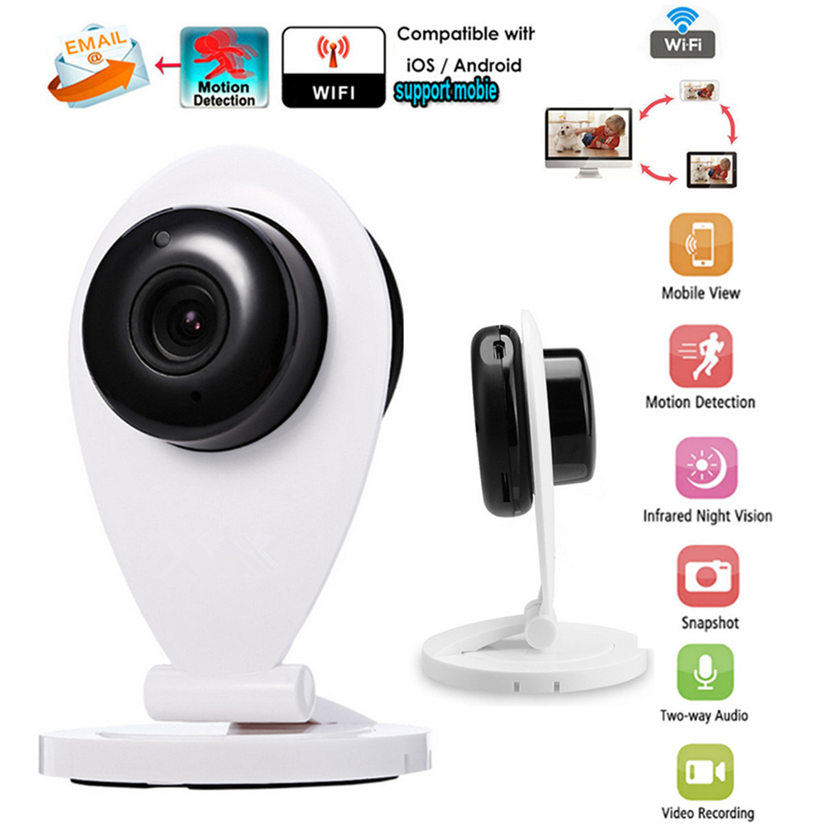 WiFi Camera DC5V/1A Powered 720P Full HD Outdoor Indoor Security IP Cam 90 Degree View Angle Night VisionWiFi Camera DC5V/1A Powered 720P Full HD Outdoor Indoor Security IP Cam 90 Degree View Angle Night Vision
